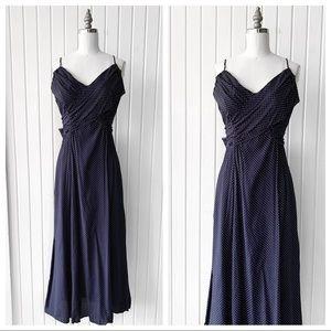 Vintage 90s Blue Polka Dot Retro Midi Dress